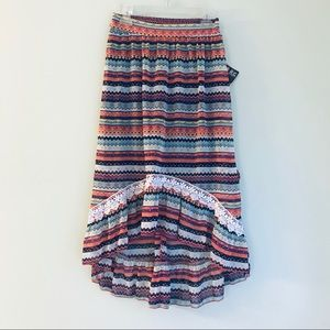 Tribal Print Girls High Low Maxi Skirt with Belt